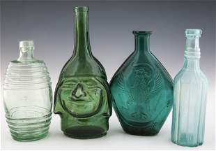 FIGURAL GLASS BOTTLES AND FLASKS - LOT OF 4