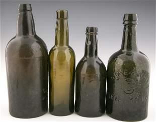 19TH C. GLASS BOTTLES - LOT OF 4