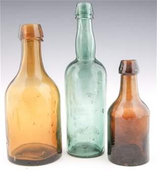 19TH C. GLASS BOTTLES - LOT OF 3