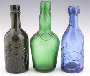 LATE 19TH C. GLASS BOTTLES - LOT OF 3