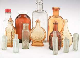LATE 19TH & 20TH C. GLASS BOTTLES & VIALS - LOT OF 14