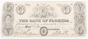 1843 BANK OF FLORIDA TALLAHASSEE FIVE DOLLAR NOTE