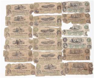 1860'S TALLAHASSEE RAILROAD OBSOLETE NOTES - LOT OF 15