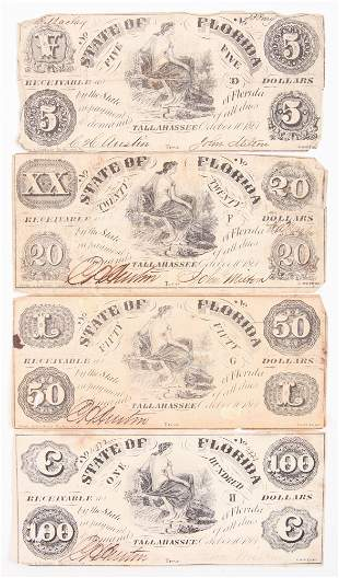 1861 STATE OF FLORIDA OBSOLETE NOTES $5 $20 $50 & $100