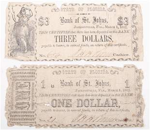 1862 BANK OF ST. JOHNS JACKSONVILLE FLORIDA EARLY NOTES