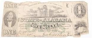 1863 STATE OF ALABAMA CONFEDERATE ONE DOLLAR NOTE