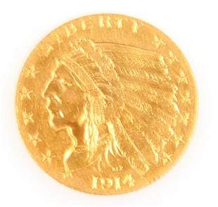 1914 U.S. INDIAN $2.50 GOLD QUARTER EAGLE