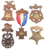 1890S GRAND ARMY OF THE REPUBLIC GAR BADGES - LOT OF 5
