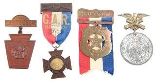 LATE 19TH C. GRAND ARMY OF THE REPUBLIC BADGES LOT OF 4