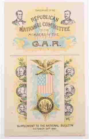 1892 REPUBLICAN NATIONAL COMMITTEE GAR BOOKLET