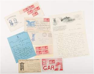 1940S USWV & GAR LETTERS, POSTCARDS, STAMPS & COVERS