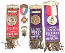 INDEPENDENT ORDER OF ODD FELLOWS BADGES - LOT OF 5