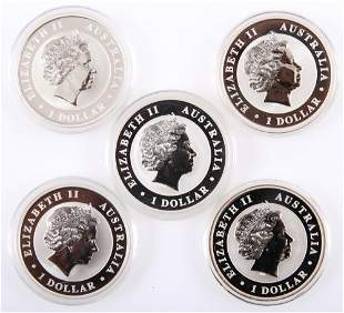 AUSTRALIAN PERTH MINT SILVER ONE OUNCE COINS - LOT OF 5
