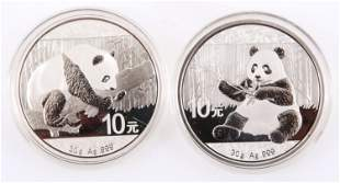 CHINESE SILVER PANDA .999 FINE SILVER COINS - LOT OF 2