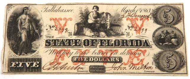 1863 $5 STATE OF FLORIDA, TALLAHASSEE OBSOLETE BANKNOTE