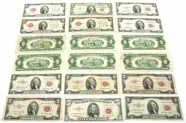 US CURRENCY $1, $2, & $5 - RED SEAL, SILVER CERTIFICATE