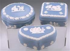 WEDGWOOD BLUE JASPERWARE TRINKET BOXES