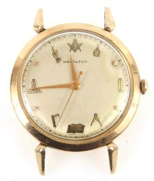 MID-20TH C. HAMILTON RODNEY MASONIC WRISTWATCH