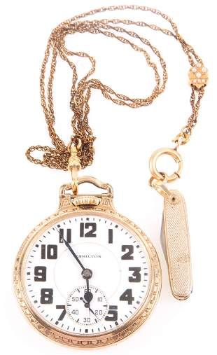 HAMILTON RAILROAD GRADE 992 POCKET WATCH WITH FOB