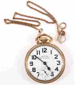 MEN'S HAMILTON RAILWAY SPECIAL GOLD FILLED POCKET WATCH