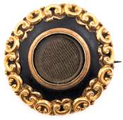 VICTORIAN 10K YELLOW GOLD HAIRWORK MOURNING BROOCH
