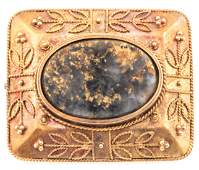 VICTORIAN 14K YELLOW GOLD & MARBLE MOURNING BROOCH