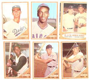TOPPS 1962 BASEBALL CARDS - KOUFAX, MARIS, CLEMENTE