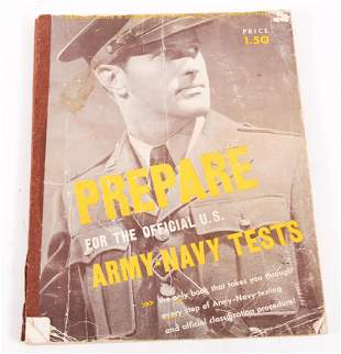 """WWII """"PREPARE FOR THE OFFICIAL US ARMY-NAVY TESTS"""" BOOK"""