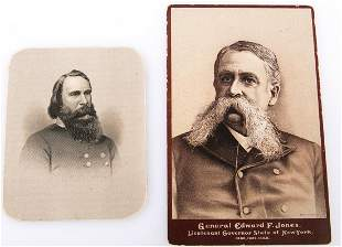 PAIR OF LATE 1800s LITHOGRAPH CABINET CARDS OF GENERALS