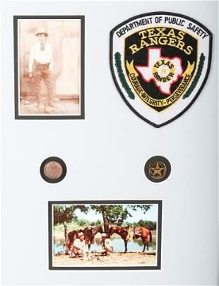 TEXAS RANGER POSTCARD, CABINET CARD, PATCH, & BUTTON