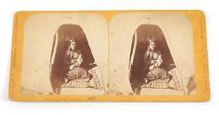 """C. ZIMMERMAN """"DOMESTIC LIFE, SIOUX INDIANS"""" STEREOVIEW"""