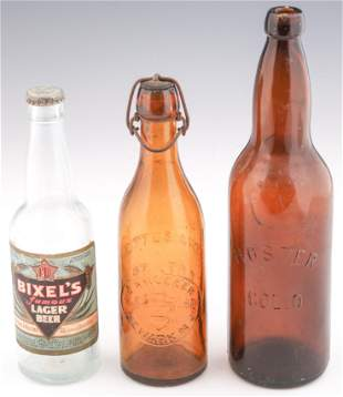 LATE 19TH/EARLY 20TH C. BEER BOTTLES - LOT OF 3