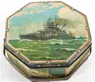 LOOSE-WILES BISCUIT CO. US NAVAL SHIP TIN WITH HANDLE