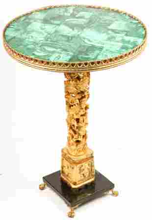 CHINESE MALACHITE TOP GILT WOOD COFFEE TABLE