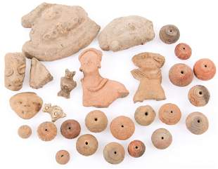 FIGURAL POTTERY SHERDS AND INCISED BEADS LOT OF 26