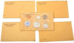 1957-1959 U.S. SILVER MINT PROOF SETS - LOT OF 5