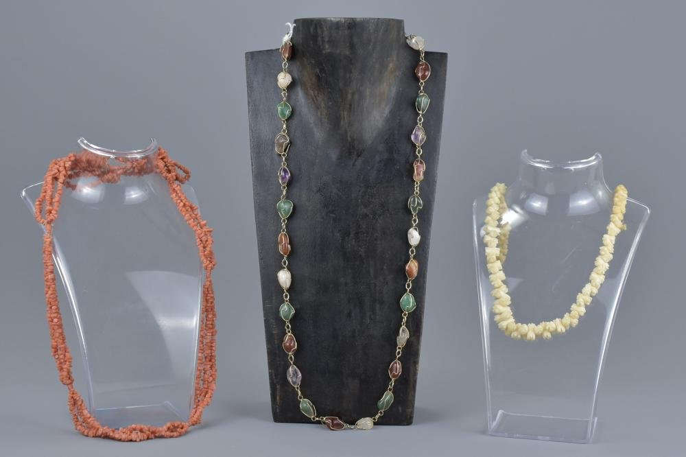 Three Strand Coral Bead Necklace