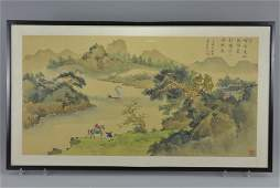A large framed and glazed Chinese painting on silk
