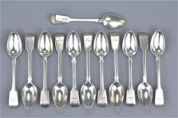 Set of twelve English antique George III solid silver