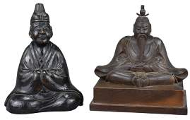 A Japanese Finely-Carved Wooden Figure of Seated Tenjin