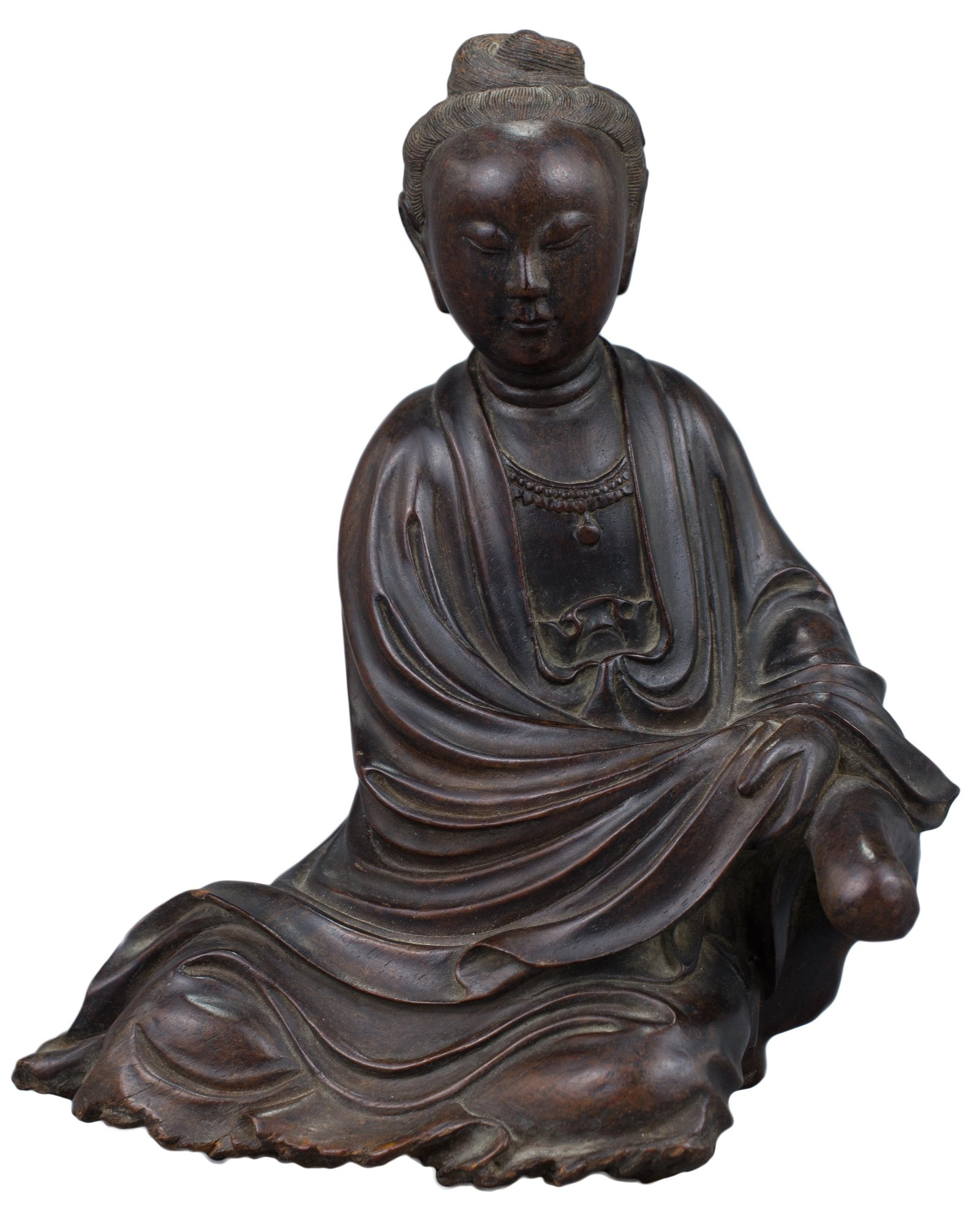 A Fine Chinese Carved Wooden Figure of Guanyin, Qing