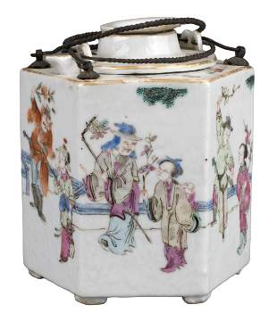 CHINESE FAMILLE ROSE PORCELAIN WINE POT WITH WARMER,
