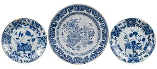 THREE CHINESE BLUE AND WHITE PORCELAIN DISHES, 18th