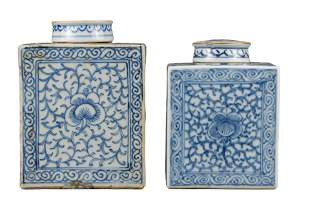 TWO CHINESE BLUE AND WHITE PORCELAIN TEA CADDIES,