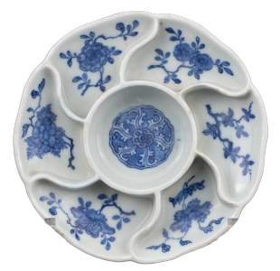CHINESE BLUE AND WHITE PORCELAIN SWEETMEAT DISH,