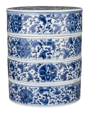 CHINESE BLUE AND WHITE PORCELAIN TIERED SWEET BOX,