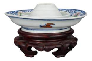 RARE CHINESE PORCELAIN OIL LAMP DISH, QIANLONG MARK AND