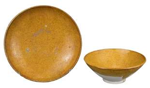 CHINESE AMBER-GLAZED POTTERY BOWL AND DISH, LIAO