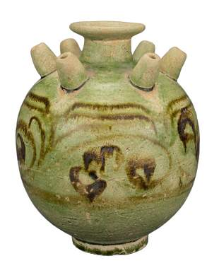 RARE CHINESE GREEN-GLAZED JAR, LIAO DYNASTY