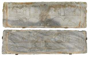 TWO CHINESE CARVED WHITE MARBLE PANELS, YUAN / MING